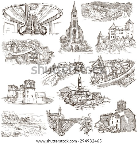 Famous Places and ARCHITECTURE around the World - Collection of an hand drawn illustrations (pack no.20). Description: Full sized hand drawn illustrations drawing on white.