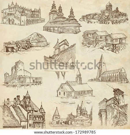 Famous places, buildings and architecture around the World (set no.8, paper) - Collection of an hand drawn illustrations. Description: Full sized hand drawn illustrations drawing on old paper. - stock photo