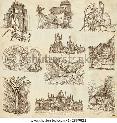Famous places, buildings and architecture around the World (set no.9, paper) - Collection of an hand drawn illustrations. Description: Full sized hand drawn illustrations drawing on old paper. - stock photo