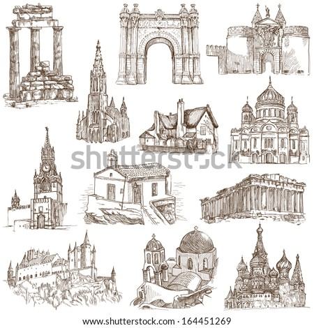 Famous places, buildings and architecture around the World (set no.5, white) - Collection of an hand drawn illustrations. Description: Full sized hand drawn illustrations drawing on white background. - stock photo