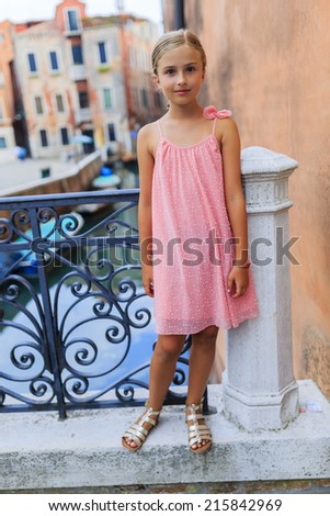 Famous places in Europe, Portrait of fashion girl in Venice, Italy - stock photo