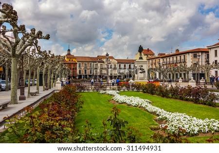 Famous Plaza de Cervantes in Alcala de Henares, Spain - stock photo