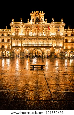 Famous Plaza Mayor in Salamanca at night, Castilla y Leon, Spain - stock photo
