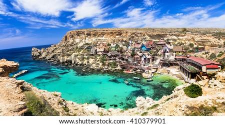 famous Popeye village in Malta - stock photo