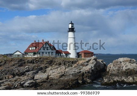 Famous portland head light off the coast of maine
