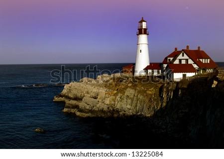 Famous Portland Head lighthouse on Maine coast, USA - stock photo