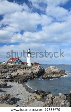 Famous portland headlight off the coast of maine - stock photo