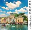 famous Portofino village on Ligurian coast, Italy. beautiful landscape with blue sky - stock photo