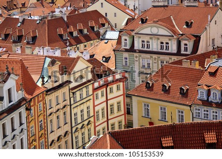 Famous Prague red roofs - stock photo