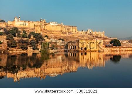 Famous Rajasthan indian landmark - Amer (Amber) fort, Jaipur, Rajasthan, India - stock photo