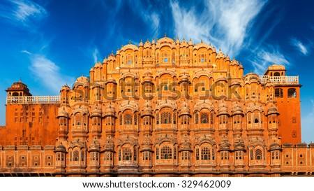 Famous Rajasthan Indian landmark - Hawa Mahal palace (Palace of the Winds), Jaipur, Rajasthan, India - stock photo