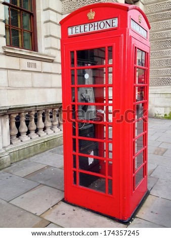 Famous Red Telephone Booth in London, UK.