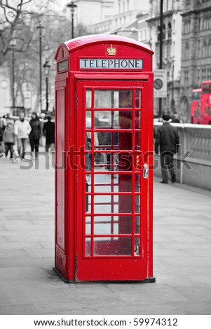 Famous red telephone booth in London, UK - stock photo