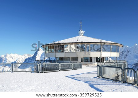 Famous revolving restaurant on the top of Schilthorn mountain, Switzerland - stock photo