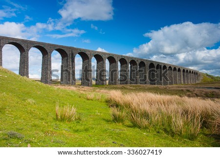 Famous Ribblehead Viaduct in Yorkshire Dales National Park,Great Britain - stock photo