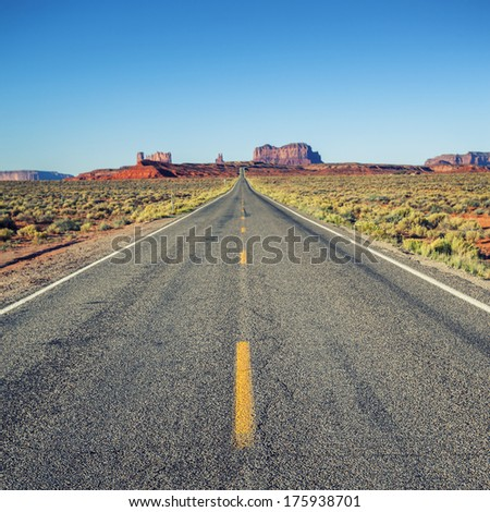 Famous road to Monument Valley, USA  - stock photo