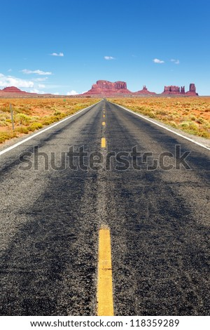 Famous Road to the Monument Valley, Arizona - stock photo