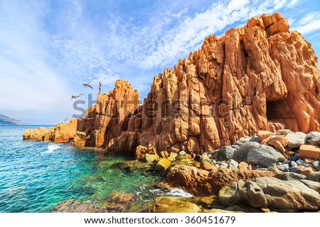 Famous Rocca Rossa (Red Rock) in Arbatax, Sardinia - stock photo