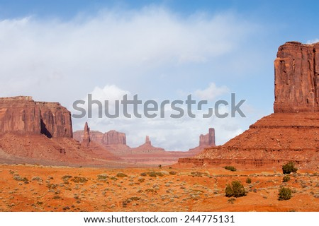 Famous rock formations of Monument Valley tribal park - stock photo