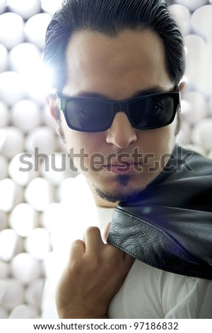 Famous Rock Star in Front of Stage Lights - stock photo