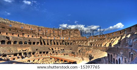 famous roman colosseum - italy - stock photo