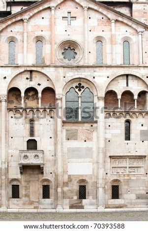 Famous Romanesque Cathedral in Modena on Piazza Grande, Italy - stock photo