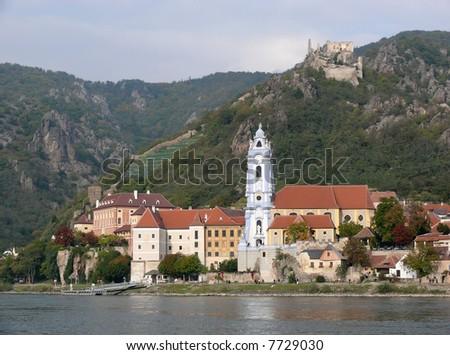 Famous, romantic village Durnstein, Danube Valley, Austria - stock photo