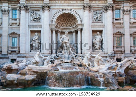 famous Rome landmark - fountain di trevi.  - stock photo