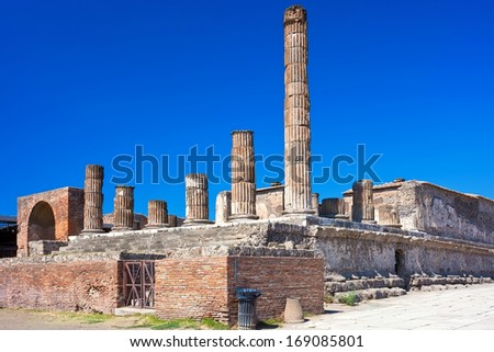 Famous ruins of ancient town Pompeii in Italy - stock photo