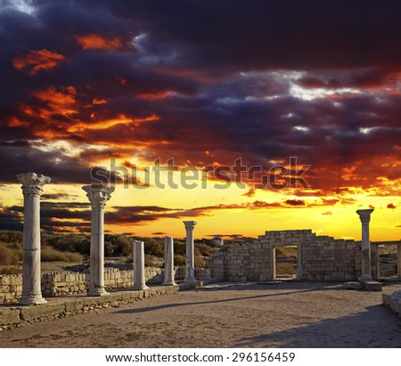 Famous ruins of Khersones in Sevastopol over dramatic evening sky, Crimea, Ukraine - stock photo