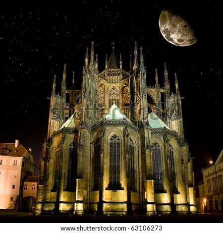 Famous Saint Vitus' Cathedral in Prague