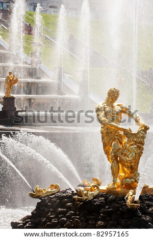 Famous Samson and the Lion fountain in Peterhof Grand Cascade - stock photo