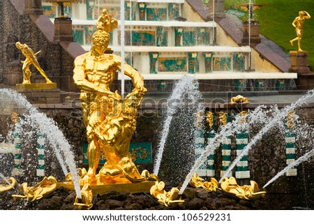 Famous Samson and the Lion fountain in Peterhof Grand Cascade, St. Petersburg, Russia. - stock photo