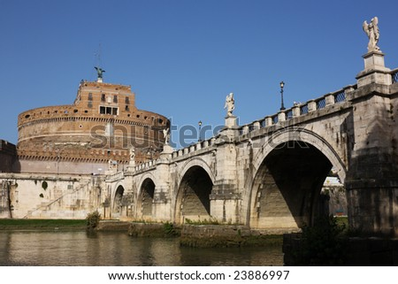famous San Angelo bridge and castle in Rome,Italy - stock photo