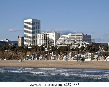 Famous Santa Monica beach in Southern California. - stock photo