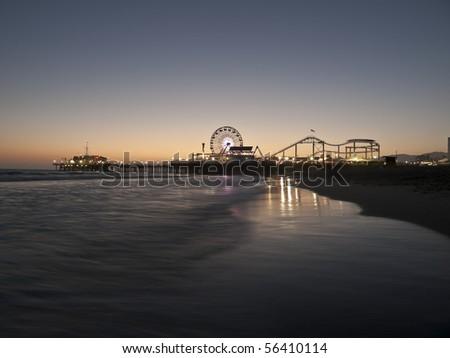 Famous Santa Monica beach on a warm summer night. - stock photo