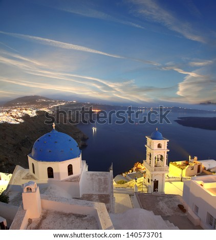 Famous Santorini in the evening with churches, Greece