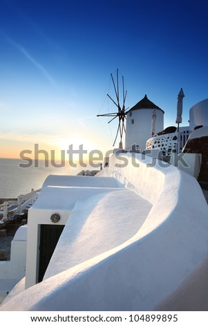 Famous Santorini Island in Greece - stock photo