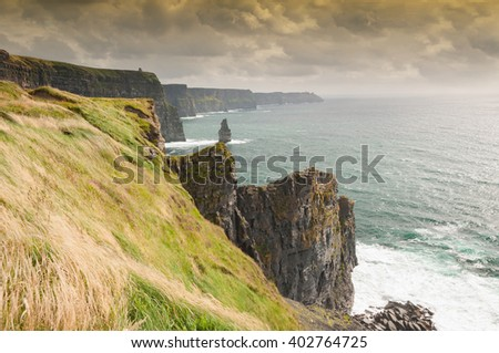 Famous Scenic Cliffs Of Moher, WildAtlanticWay, County Clare, Ireland.