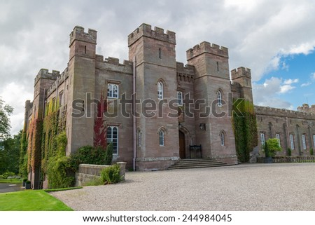 Famous Scottish Scone Palace, where kings were crowned, near Perth - stock photo