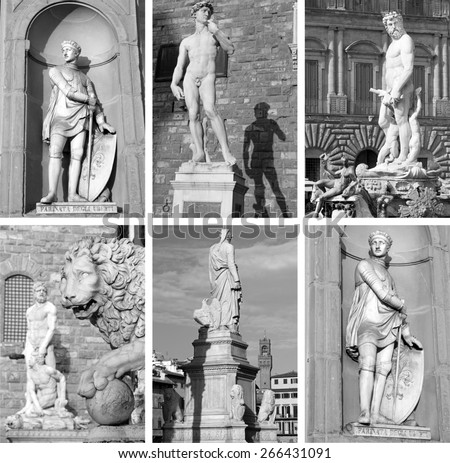 famous sculptures on Piazza Signoria ,Piazza Santa Croce and   in niche on portico of Uffizi Palace, Florence, Tuscany, Italy - stock photo