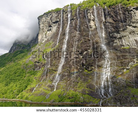 Famous Seven Sisters Waterfalls in the beautiful Geiranger Fiord in Norway
