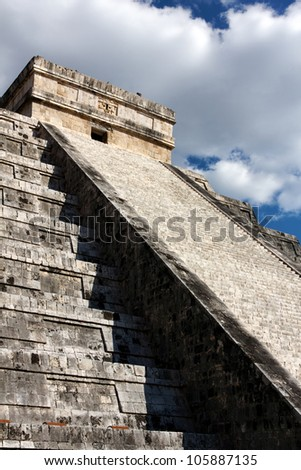 Famous shadowplay at Kukulkan pyramid in the Mexican city of Chichen Itza, Yucatan, Mexico.