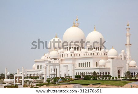Famous Sheikh Zayed mosque in Abu Dhabi, United Arab Emirates - stock photo