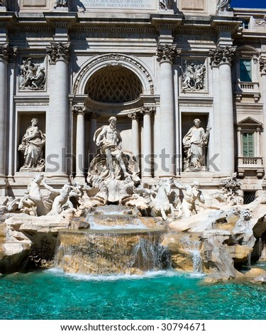 Famous sightseeing Trevi fountain in Rome, Italy