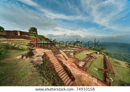 Famous Sigiriya Rock Fortress in Sri Lanka - stock photo