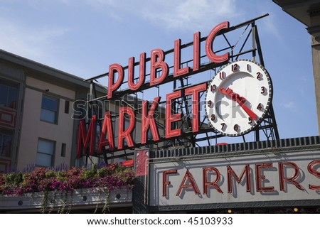 Famous Sign at Pike's Market in Seattle Washington - stock photo