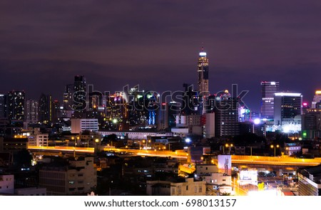 Famous Skyscrapers Of Bangkok City At Night Top View Landscape Midnight