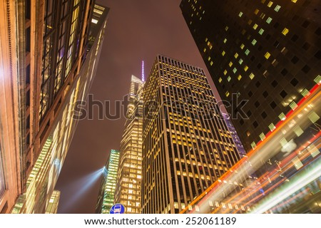 Famous skyscrapers of New York at night