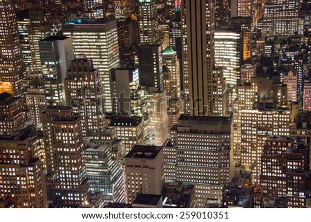 Famous skyscrapers of New York at night - stock photo
